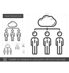 Cloud network line icon vector image