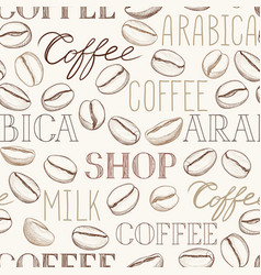 coffee seamless pattern coffee beans and vector image