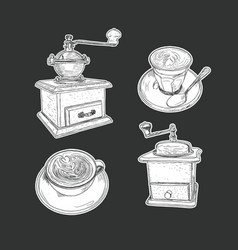 coffee set isolated vector image
