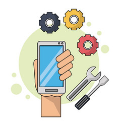 color background with hand holding smartphone in vector image
