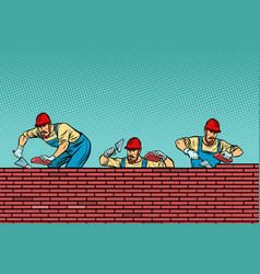construction team laying a brick wall background vector image