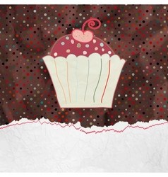 Cute retro Cupcake in frame EPS 8 vector image