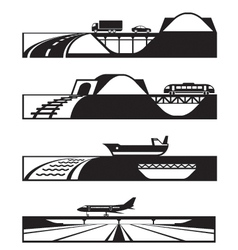 Different types of roads with vehicles vector image