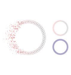 Disintegrating pixelated halftone star double vector