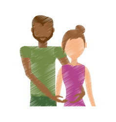 Drawing couple ethnic relationship vector
