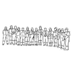 fifteen workers in protective suit with heard hat vector image