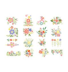 Flat set colorful floral compositions vector