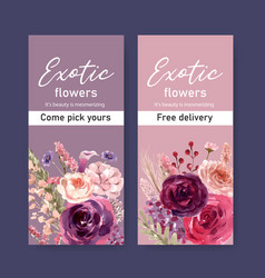 Floral wine flyer design with peony rose rowan vector