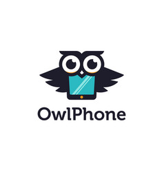 Fun mascot logo icon owl and phone merged vector
