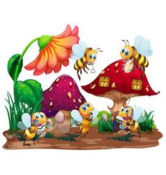 garden scene with many bees flying in garden vector image