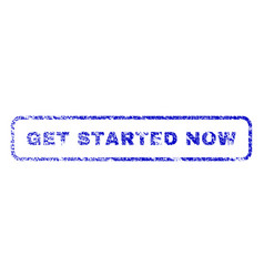 get started now rubber stamp vector image