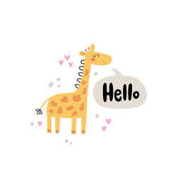 Giraffe and lettering text vector