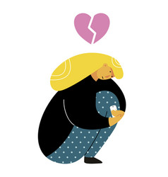 girl sitting curled up with broken heart woman is vector image