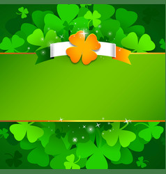 green st patricks day background with irish flag vector image
