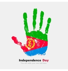 Handprint with the Flag of Eritrea in grunge style vector image