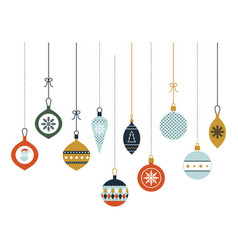 hanging christmas glass balls christmas vector image