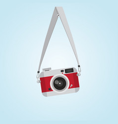 hanging red vintage camera with screw head flat vector image