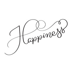 Happiness word on white background hand drawn vector