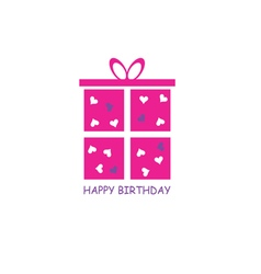 happy birthday gift pink vector image