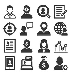 headhunting related icons set on white background vector image