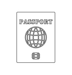 icon of passport with chip vector image