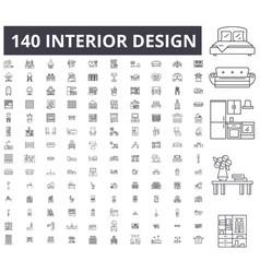 interior design editable line icons 100 vector image