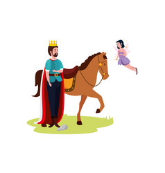 king with horse and fairy flying vector image