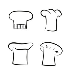 Kitchen caps set headwear item for baker chef cook vector