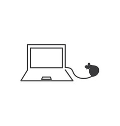 Laptop with mouse logo icon vector