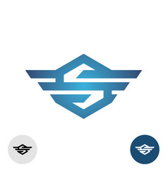 letter s with wings tech style logo hexagon sign vector image
