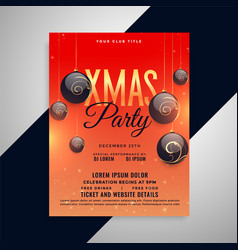 merry christmas party greeting invitation flyer vector image