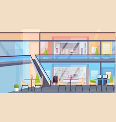 modern retail shopping mall with clothes boutique vector image