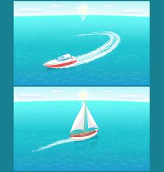Modern yachts marine nautical personal ships icon vector