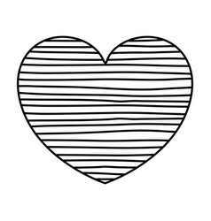 Monochrome silhouette of lines in heart shape vector