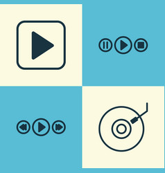 Multimedia icons set collection of gramophone vector