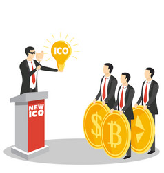 new ico or initial coin offering concept vector image