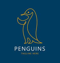 one line penguins logo vector image