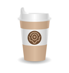 paper coffee cup on white background vector image
