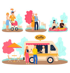 people in park family walk and romantic date vector image