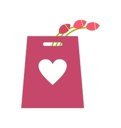 Pink tulips in the shopping bag icon vector image
