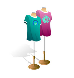 plain t-shirt on mannequin torso template front vector image