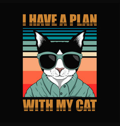 Plan with cat retro vector