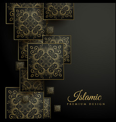 Premium islamic background with floral square vector