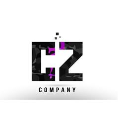 Purple black alphabet letter cz c z logo vector