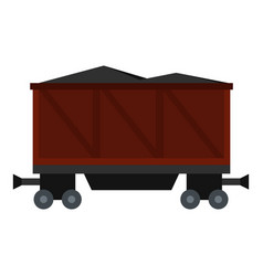 Railway wagon loaded with coal icon isolated vector