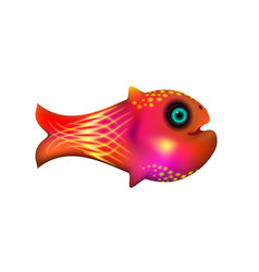 Red little fish cartoon funny life vector