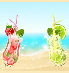 Refreshing cocktails on the beach background vector