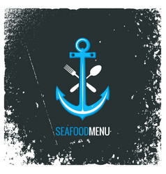 Seafood logo with anchor fork and spoon vector