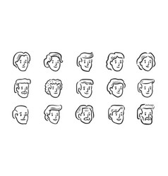 Set avatar icons hand drawn portraits vector
