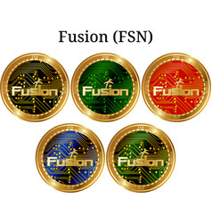 Set physical golden coin fusion fsn vector